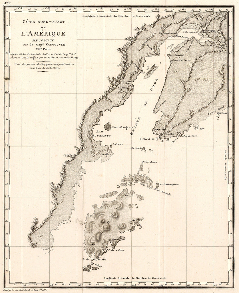 Antique map of the Alaska coast by: George Vancouver 1799 - HJBMaps.com