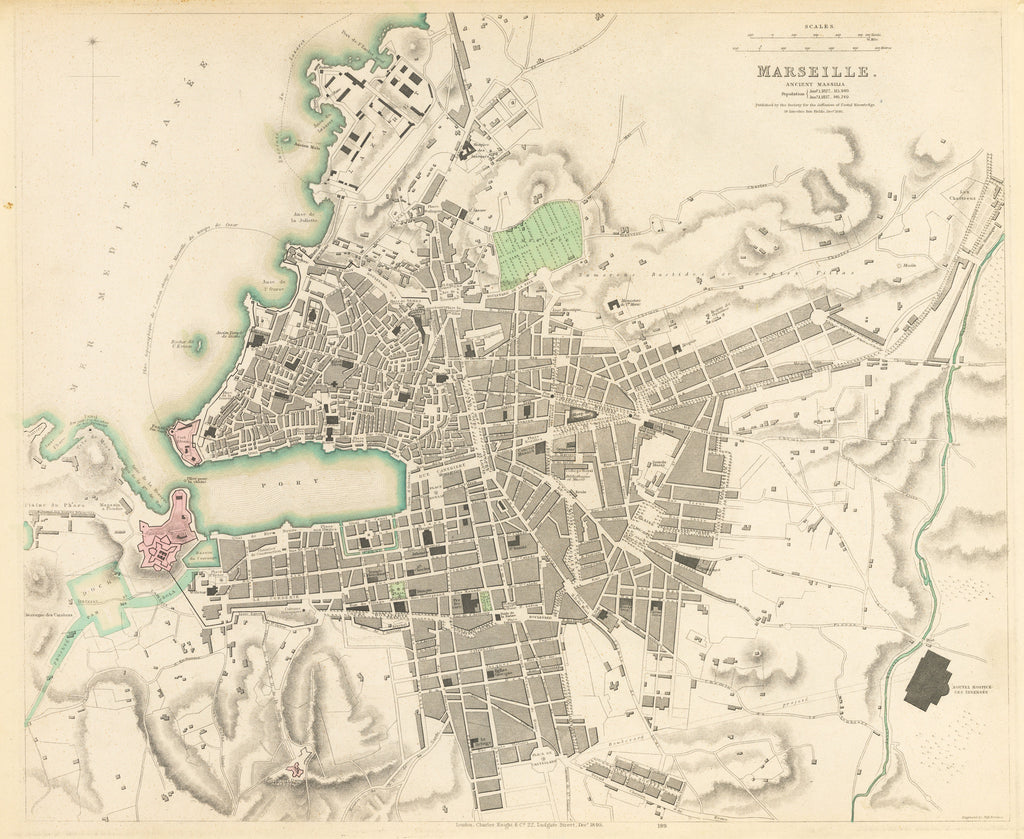 Antique Map Of Marseille France 1840 Hjbmaps Com Hjbmaps Com