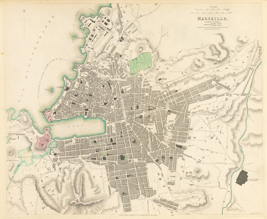 Marseille. Ancient Massilia By: W.B. Clarke Date: 1840 S.D.U.K. - nwcartographic.com