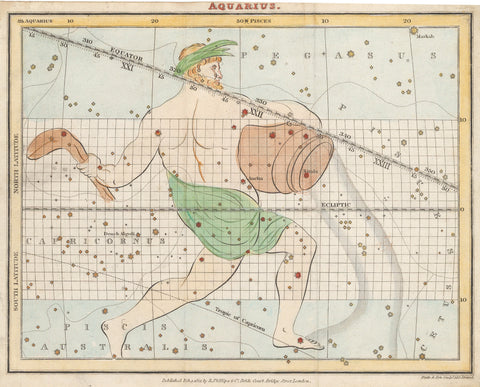 1821 (circa) Aquarius Celestial Map