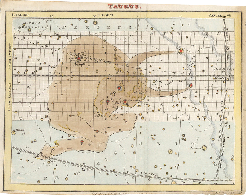 Antique celestial map of Taurus By: R. Phillips & Co. Date: 1821