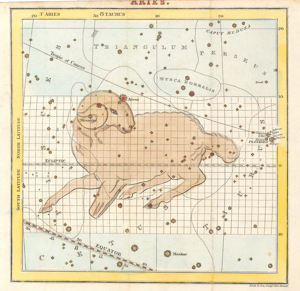 Antique Map of Aires Constellation - HJBMaps.com
