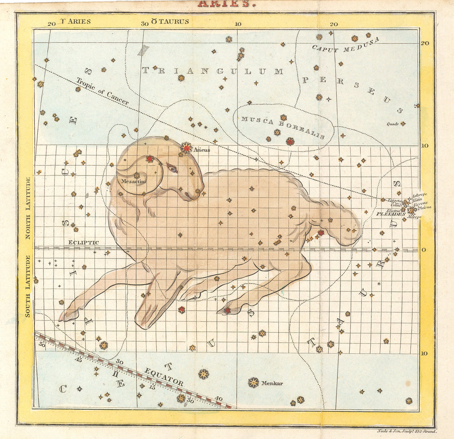 Antique Map of Aires Constellation - nwcartographic.com