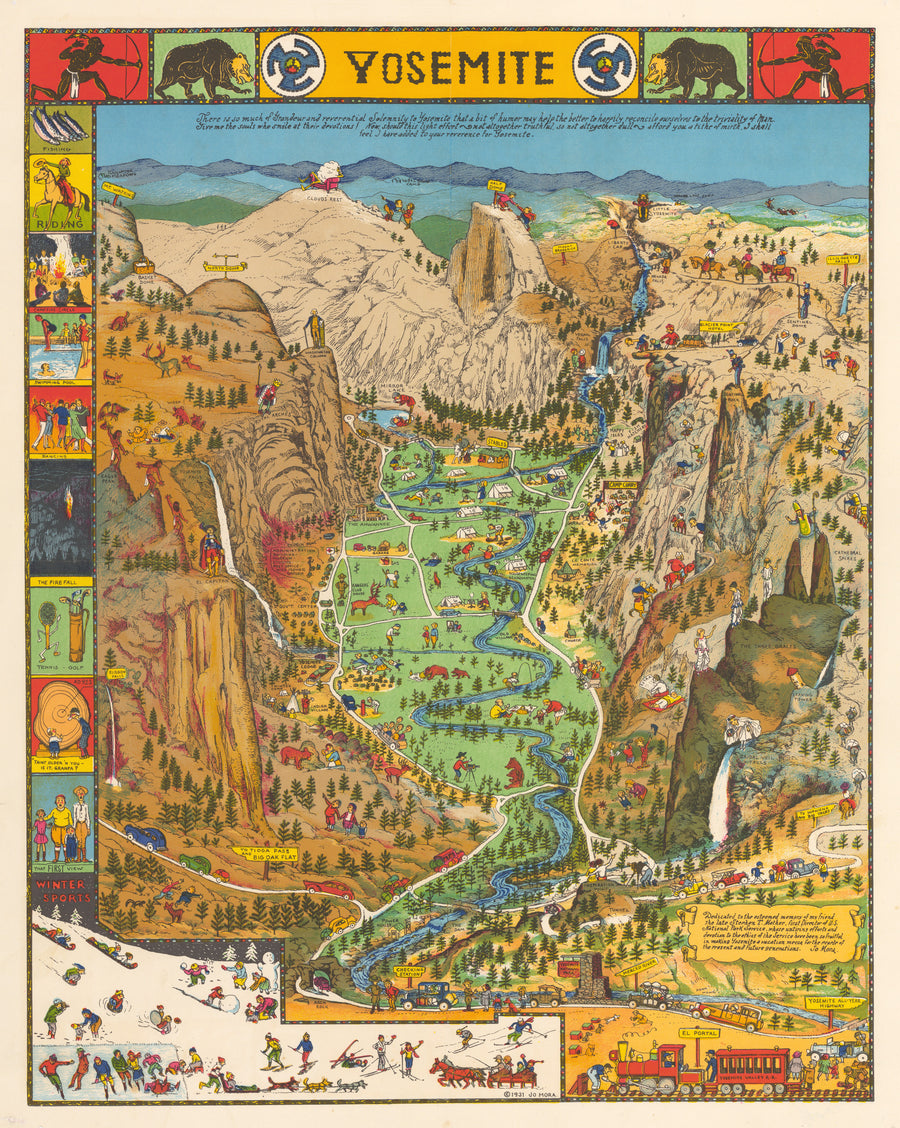Vintage Pictorial Map of Yosemite National Park by: Jo Mora
