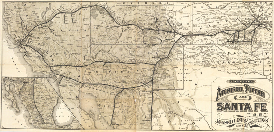 1885 Map of the Atchison, Topeka and Santa Fe R.R. Leased Lines and Connections