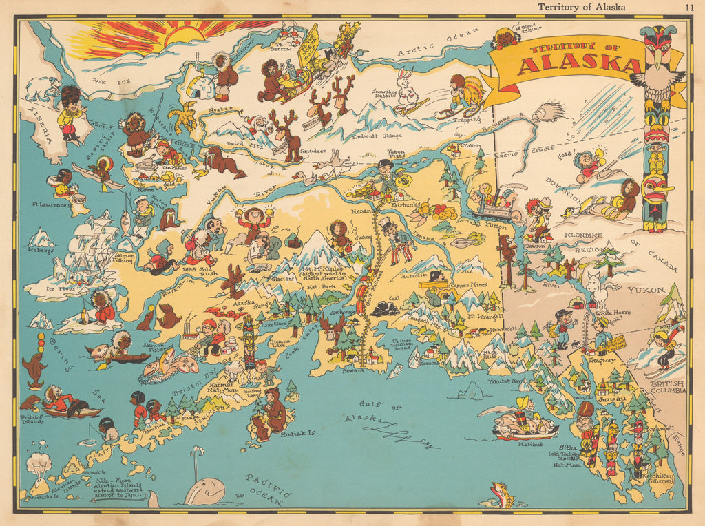 Pictorial Map of Alaska By: Ruth Taylor 1935 - HJBMaps.com