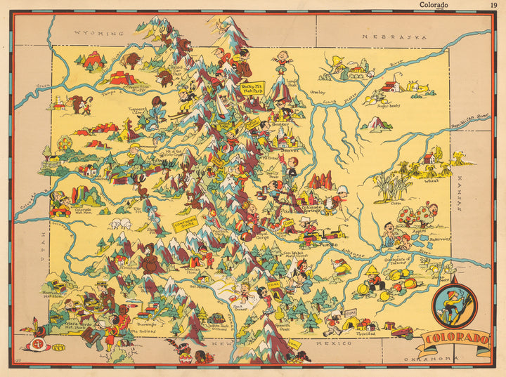 Pictorial Map of Colorado by Ruth Taylor 1935 - nwcartographic.com