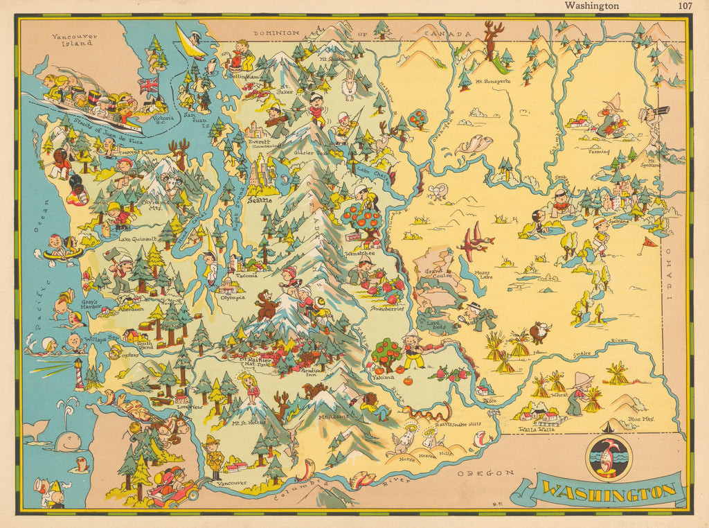 Pictorial map of Washington state by Ruth Taylor 1935 - HJBMaps.com
