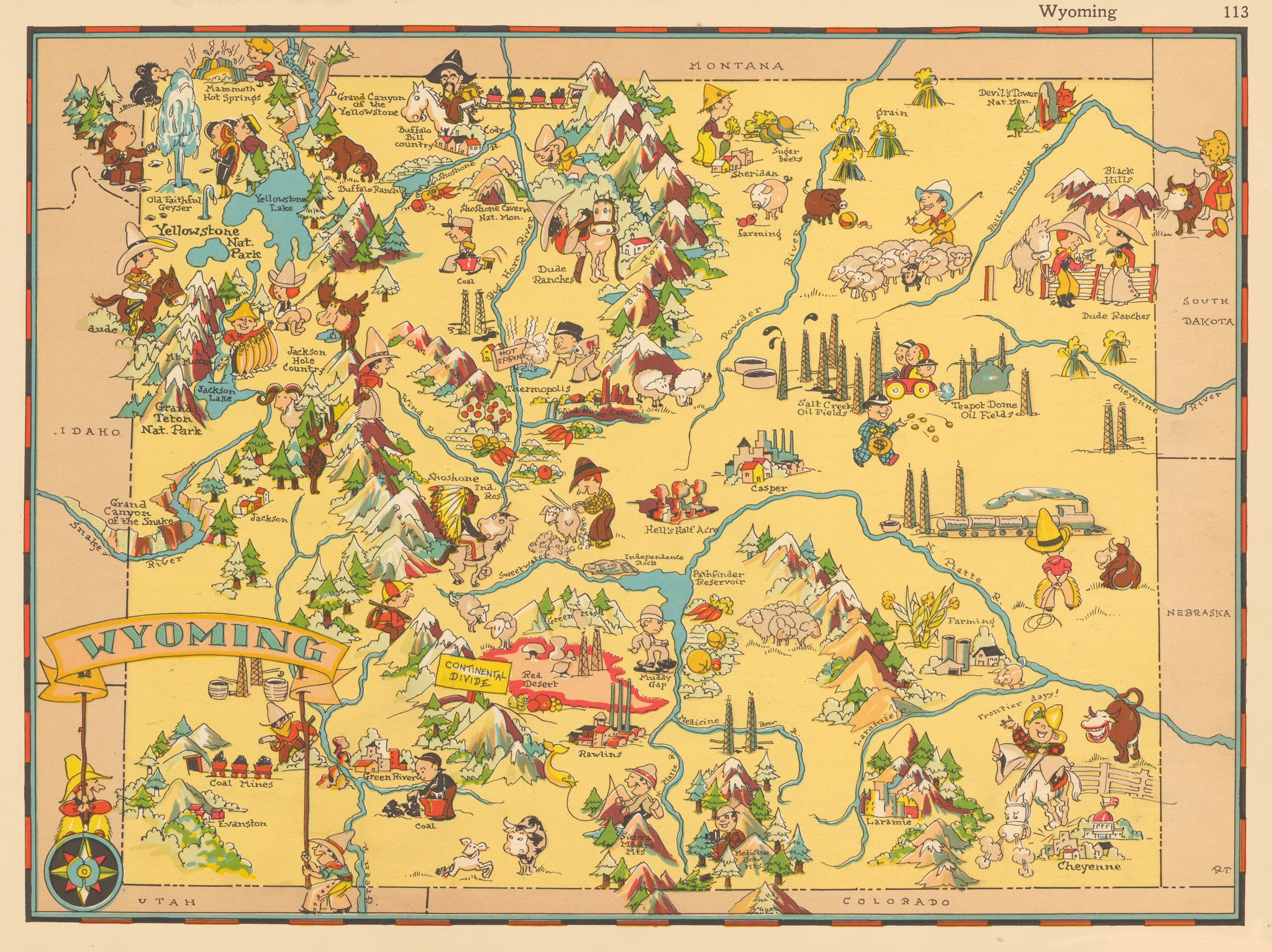Decorative map of Wyoming by Ruth Taylor 1935 - nwcartographic.com