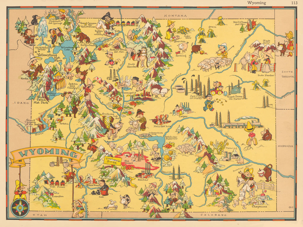 Decorative map of Wyoming by Ruth Taylor 1935 - HJBMaps.com