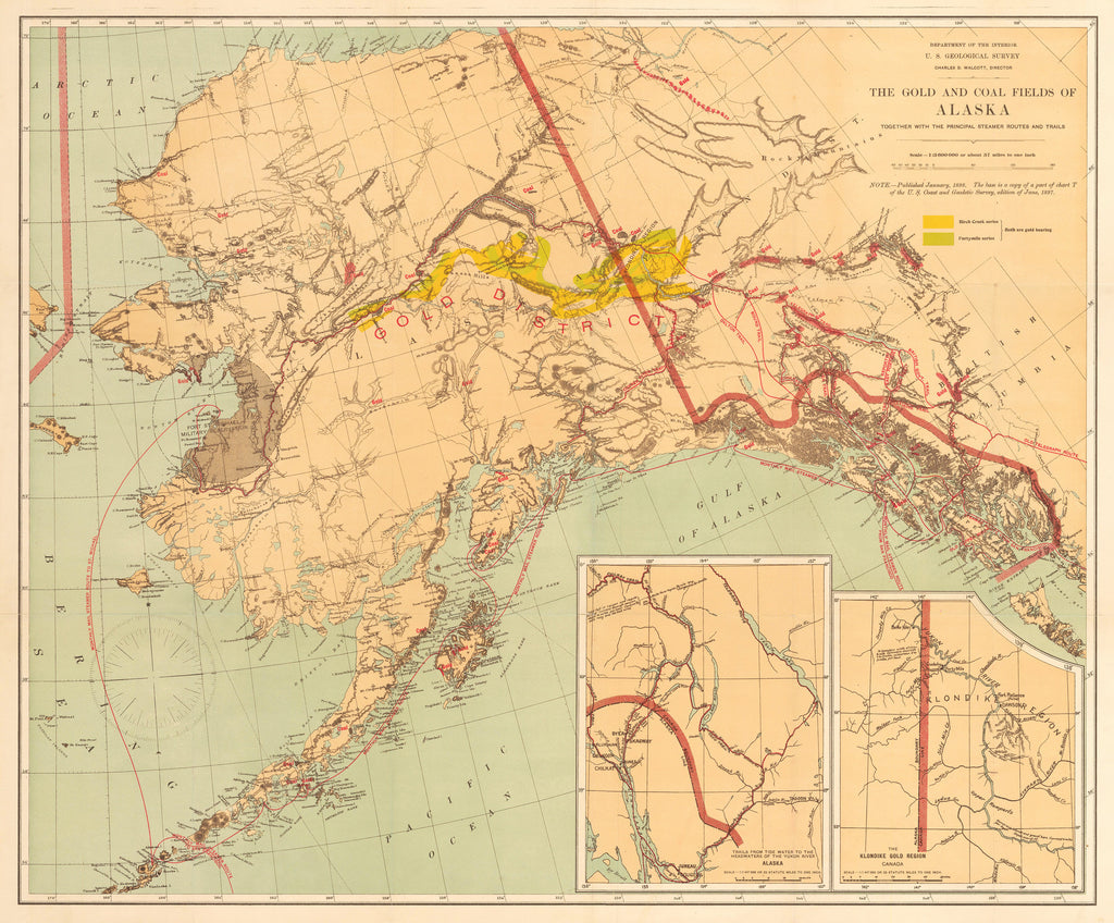 1898 Map of Alaska showing the gold and coal fields - hjbmaps.com