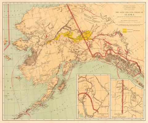 1898 The Gold and Coal Fields of Alaska, Together With the Principal Steamer Routes and Trails