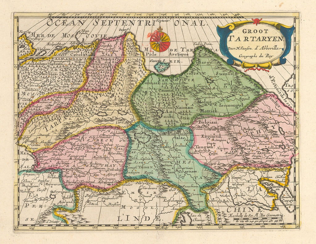 Antique Map of Northern Asia by: Sanson 1700 : HJBMaps.com – HJBMaps ...