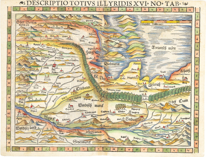 Descriptio Totius Illyridis XVI No Tab : Antique Map of Slovenia, Croatia, Dalmatian Coast by: Munster 1570 - nwcartographic.com