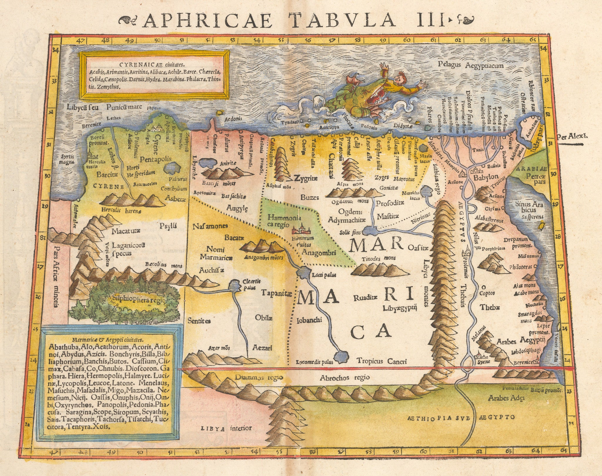 Aphricae Tabula III Antique map of northern Africa By: Sebastian Munster 1550 - nwcartographic.com