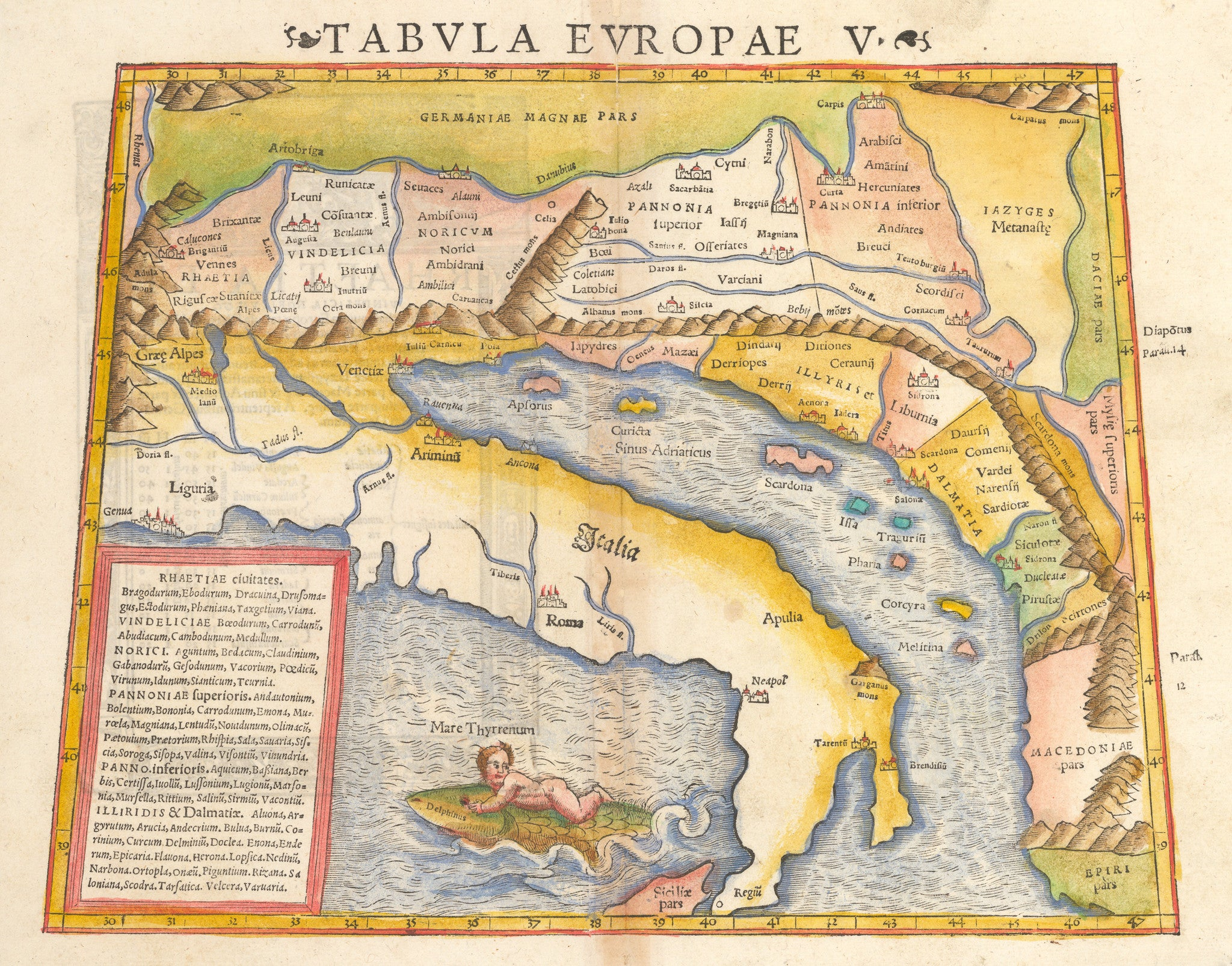 Tabula Europae V Antique map of Italy and neighboring countries By: Munster 1550 - nwcartographic.com
