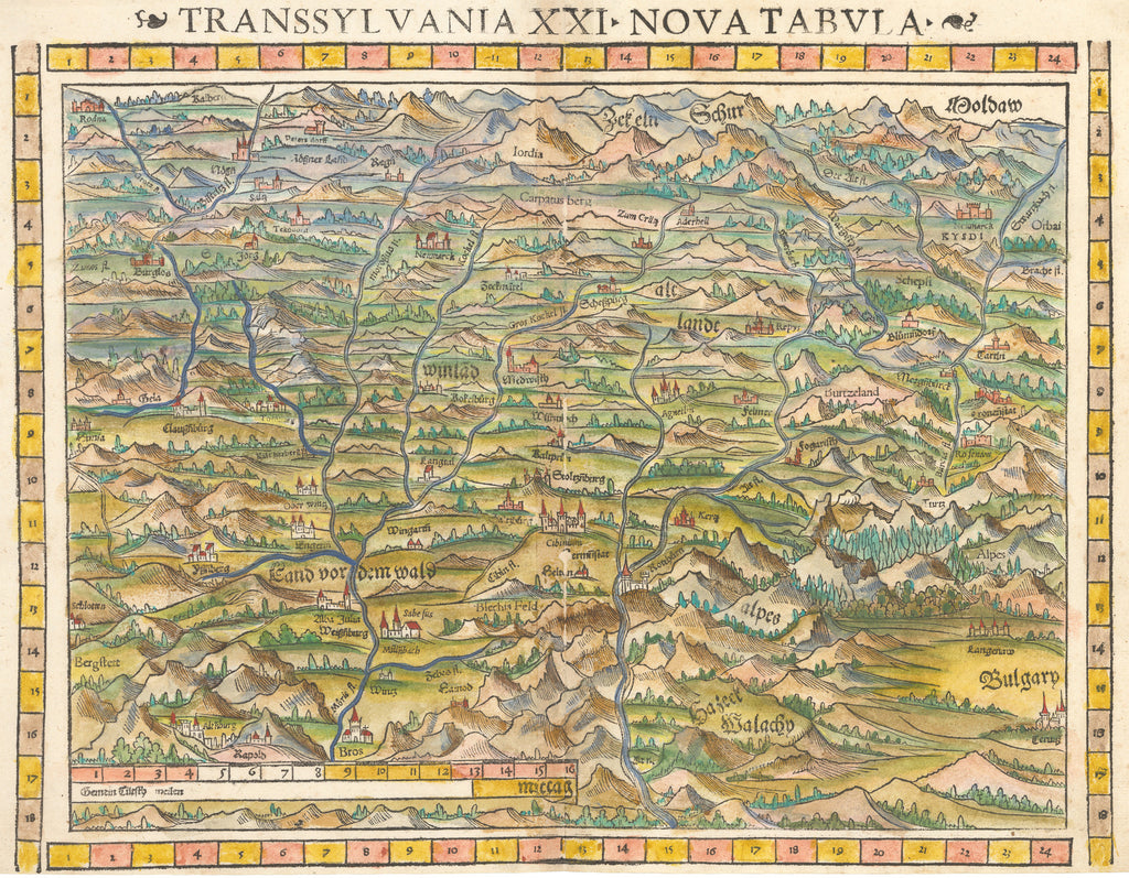 Transsylvania XXI Nova Tabula Antique map of Transylvania by Sebastian Munster 1550 - hjbmaps.com