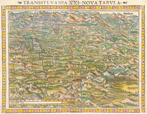 Transsylvania XXI Nova Tabula Antique map of Transylvania by Sebastian Munster 1550 - nwcartographic.com
