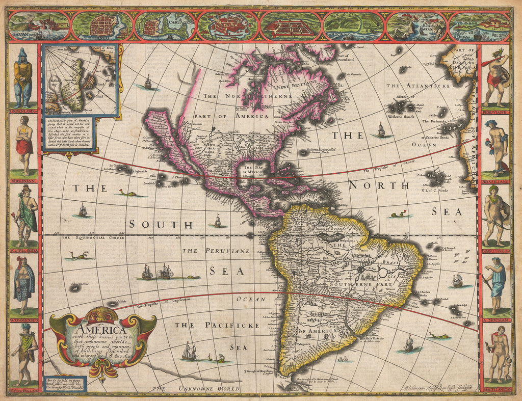 Map Of America Showing Chicago.1626 America With Those Known Parts In That Unknowne World Both People And Manner Of Buildings Discribed And Inlarged By I S Ano 1626