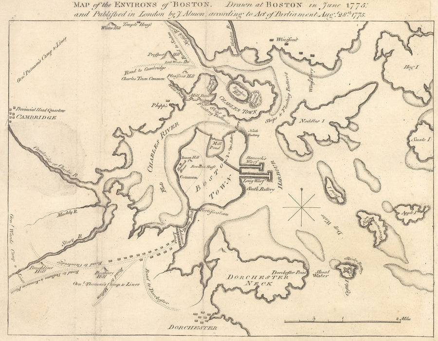 Revolutionary War Period Map of Boston By: J. Almon 1775 - nwcartographic.com