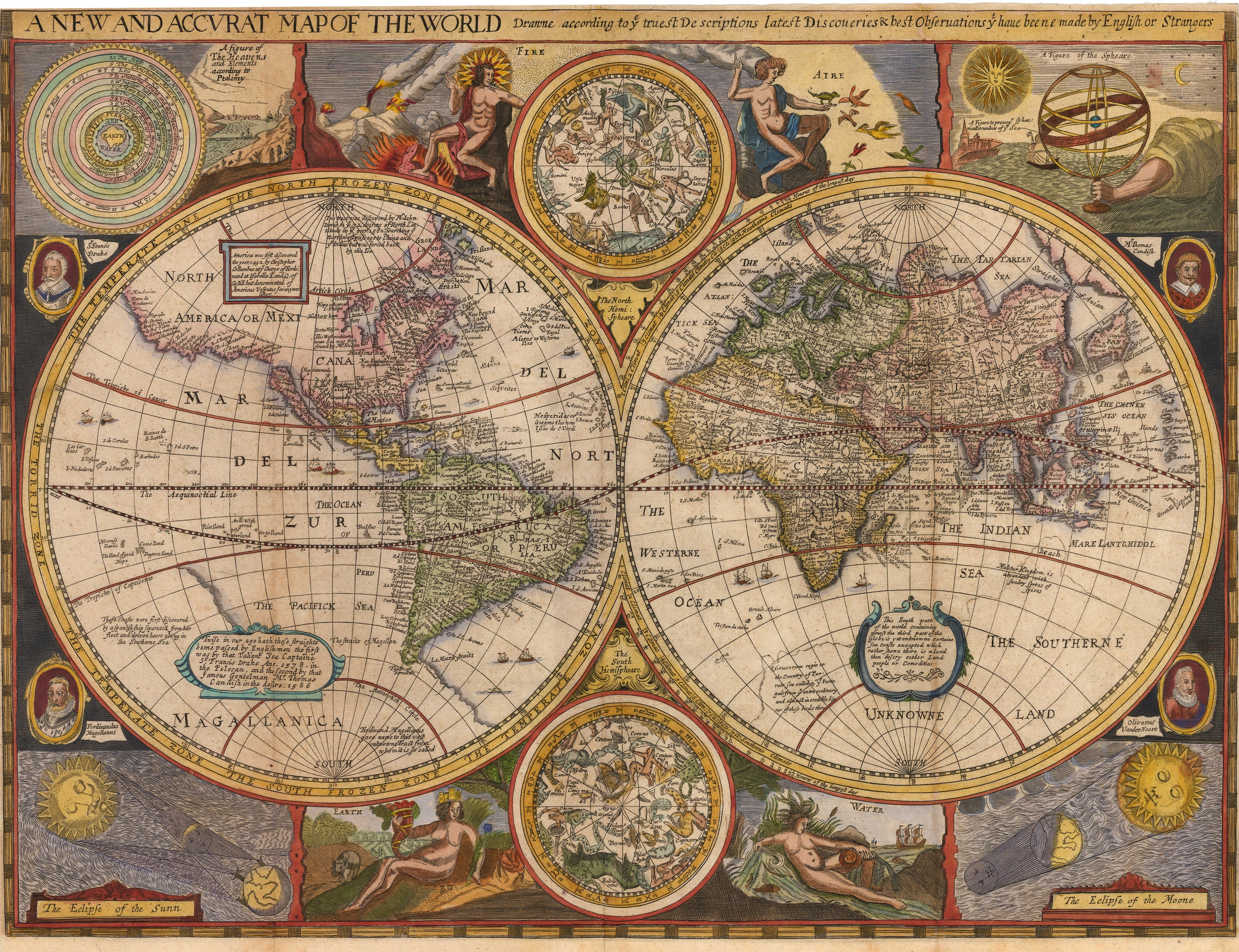 Antique Map of the World w/ California as an Island 1659 By: Robert Walton : nwcartographic.com