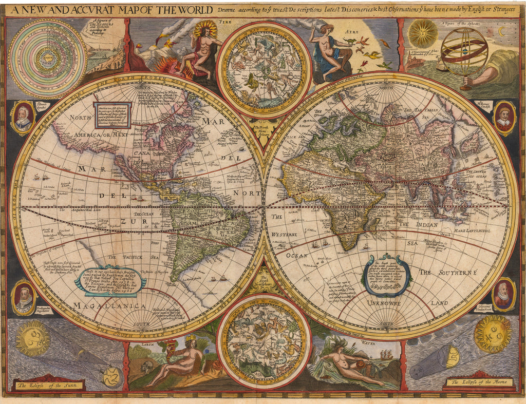 Antique Map Of The World W California As An Island HJBMaps - Antique map dealers