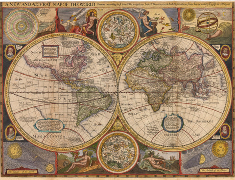 1659 A New and Accurat Map of the World Drawne According to ye Truest Descriptions...