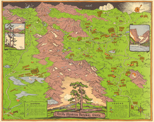 Vintage Pictorial Map of Rocky Mountain National Park 1948 - nwcartographic.com