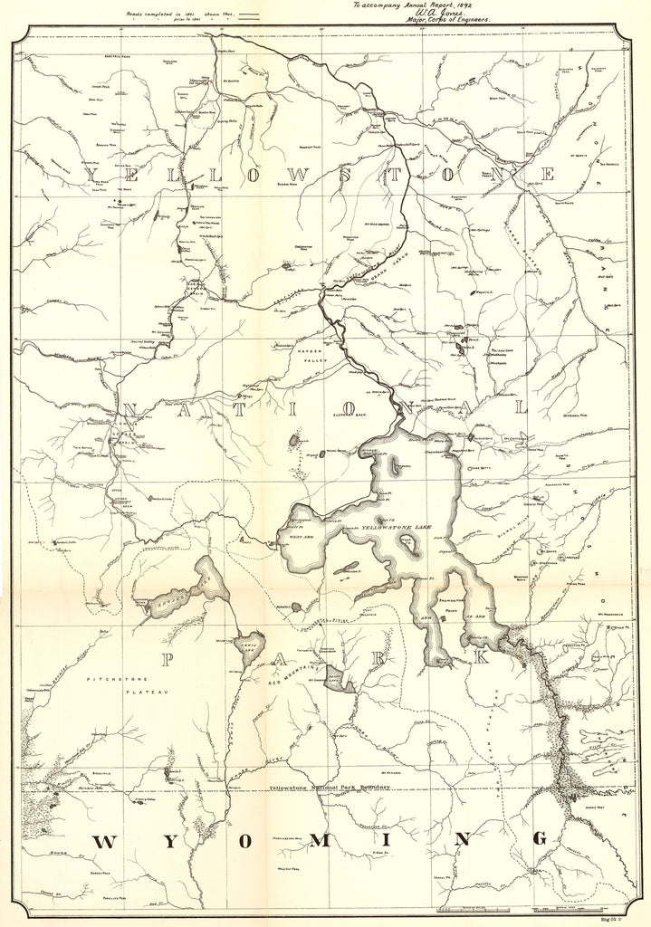 Antique Map of Yellowstone National Park - HJBMaps.com