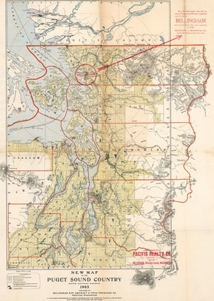 1903 New Map of the Puget Sound Country fifth revised edition 1903