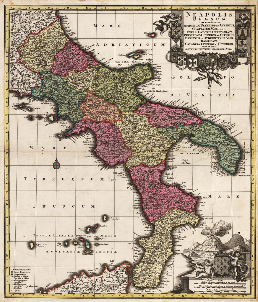 Neapolis Regnum by: Matthias Seutter 1742 - antique map of Italy