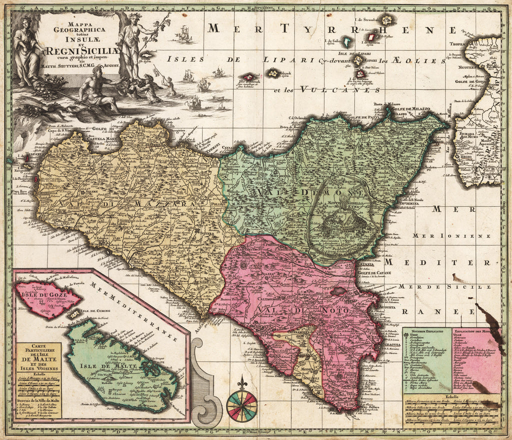 Antique Map of Sicily by Seutter 1730 - Mappa Geographica totius Insulae et Regni Siciliae