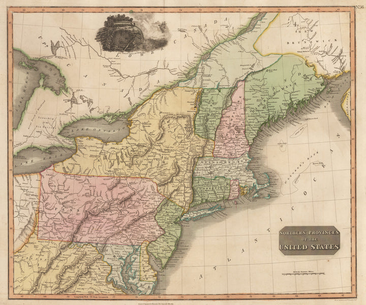Antique Map - Northern Provinces of the United States by Thompson 1817