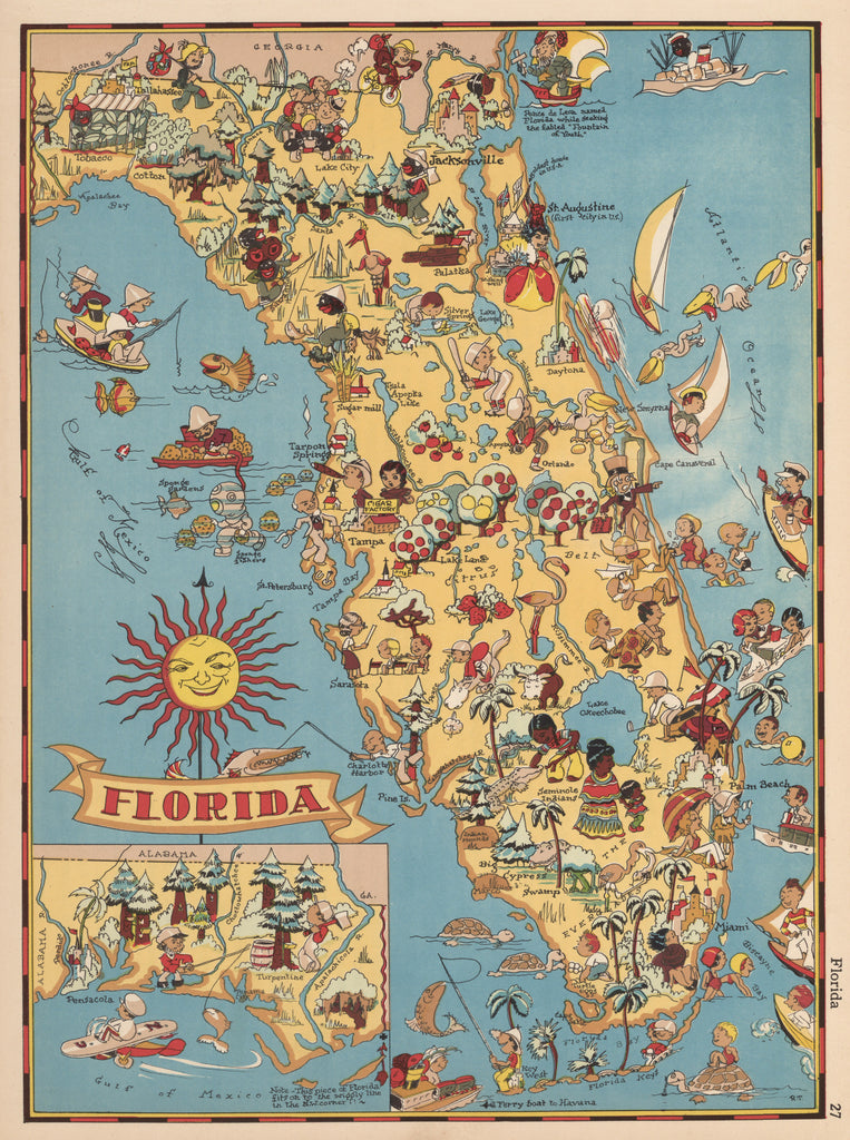 Old Pictorial Map of Florida by: Ruth Taylor 1935 : hjbmaps.com