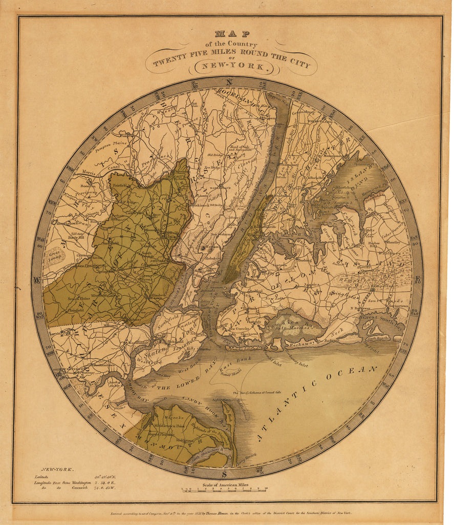 Map of the Country Twenty Five Miles Round the City of New York