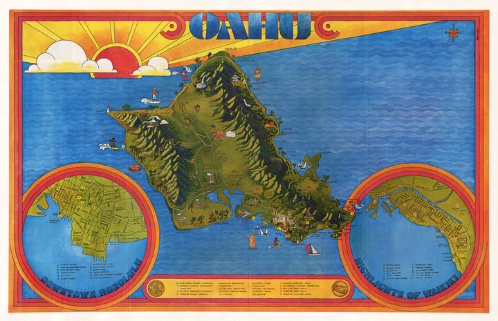 Vintage Pictorial Map of Oahu by: Freya Tanz 1974 - nwcartographic.com