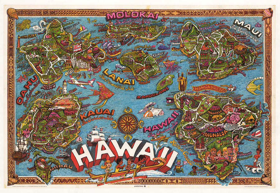 Vintage Pictorial Map of Hawaii 1972 : nwcartographic.com