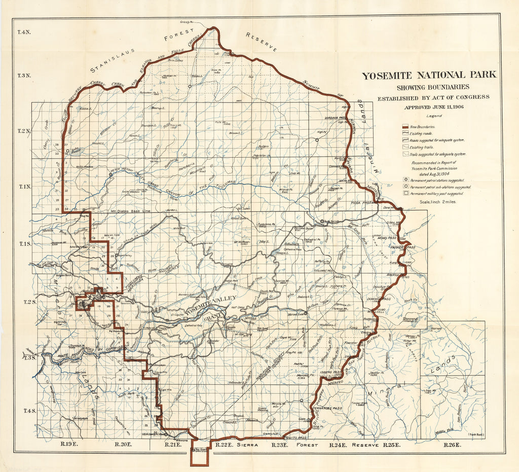 Antique Map of Yosemite National Park 1906 : hjbmaps.com – HJBMaps ...