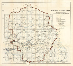 Antique Map of Yosemite National Park Showing Boundaries Established by Act of Congress Approved June 11, 1906