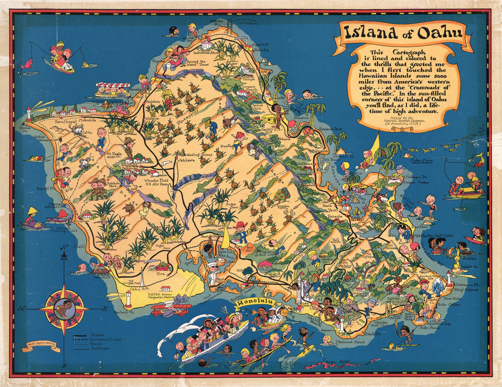 Antique Map Island of Oahu 1931 Ruth Taylor