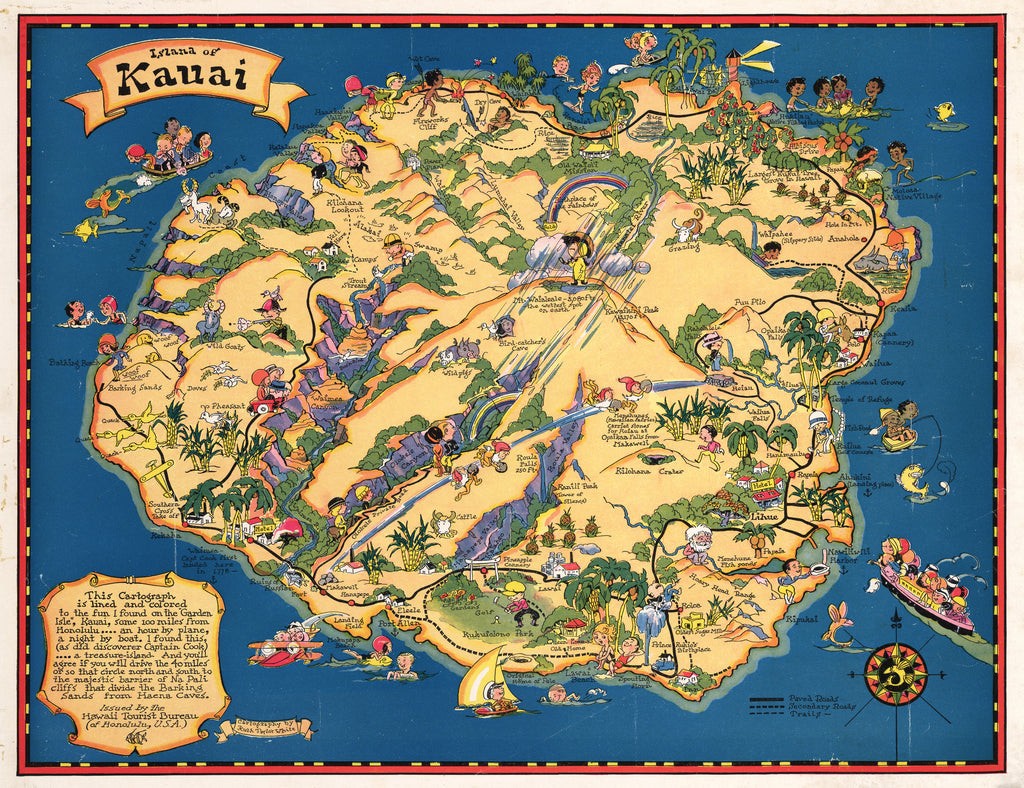 Antique Map The Island of Kauai 1931 Ruth Taylor
