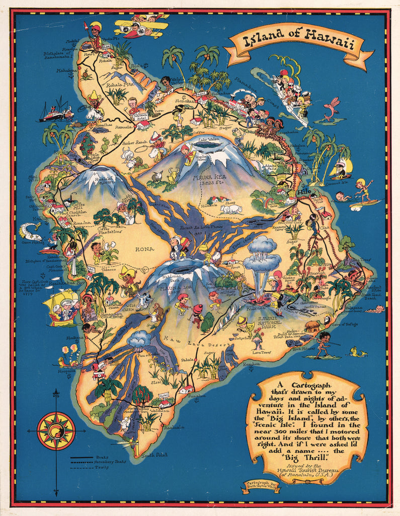 Antique Map: Island of Hawaii by Ruth Taylor 1931 - hjbmaps.com