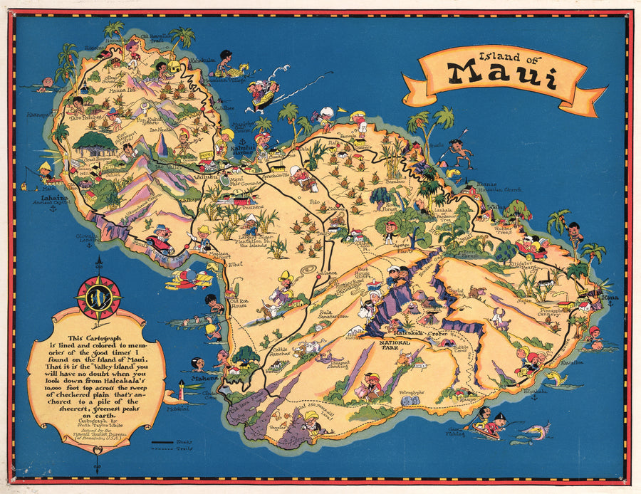 Vintage Map of the Island of Maui 1931 Ruth Taylor : nwcartographic.com