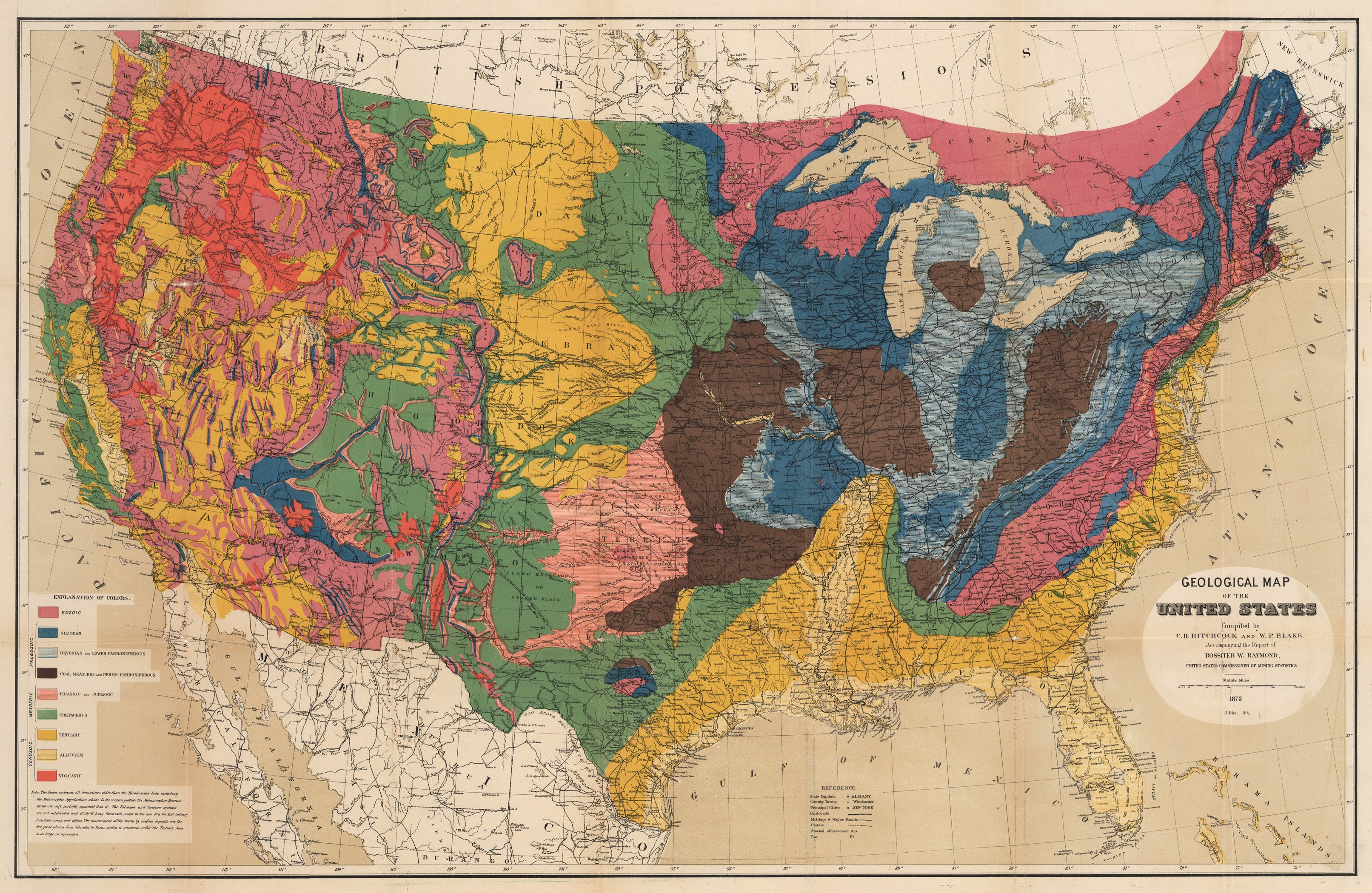 Geological Map of the United States Compiled by C.H. Hitchcock and W.P. Blake 1873
