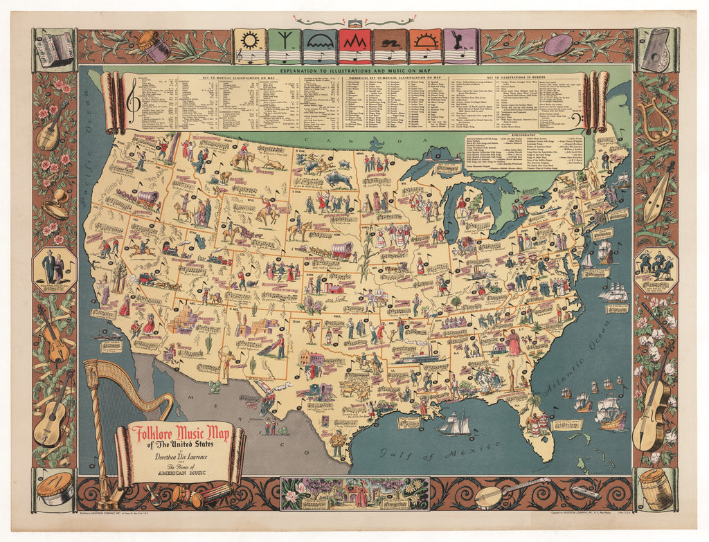 Vintage Folklore Music Map of the United States 1946 : hjbmaps.com ...