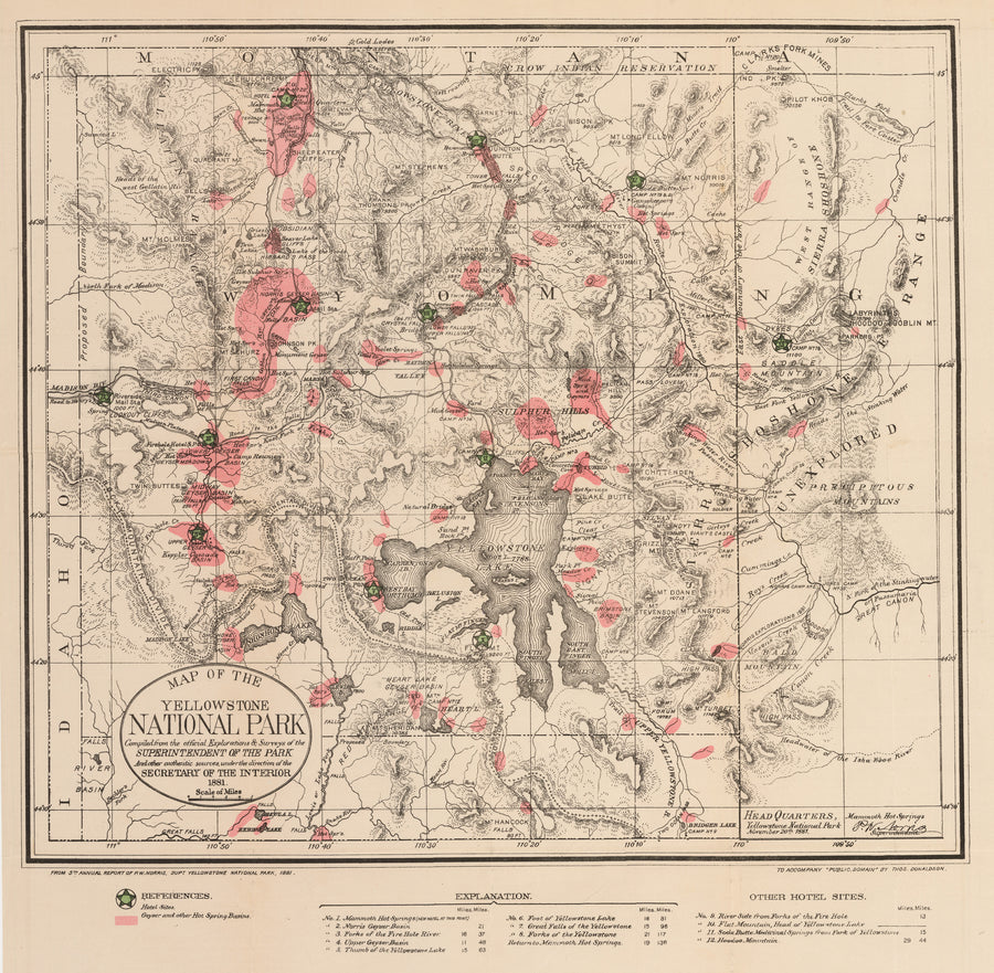 Antique Map of the Yellowstone National Park 1881