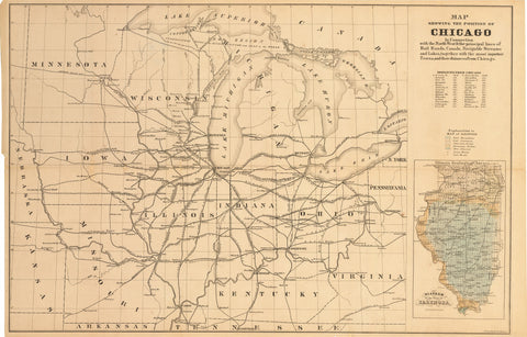 1850 Map Showing the Position of Chicago In Connection with the North West & the principal lines of Rail Roads, Canals, Navigable Streams and Lakes...