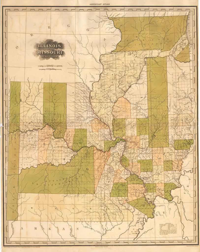 Antique Map of Illinois and Missouri by H.S. Tanner 1823 : hjbmaps.com