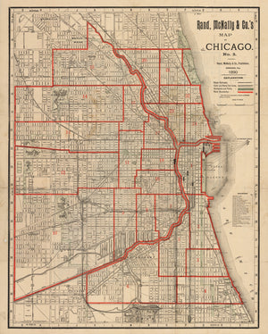 Antique Map of Chicago No. 3 By: Rand, McNally & Co.,, Date: 1890 (Published) Chicago, Dimensions: 26.5 x 20.75 inches