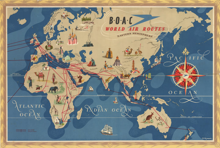 Antique Map BOAC World Air Routes 1949 EO Seymour
